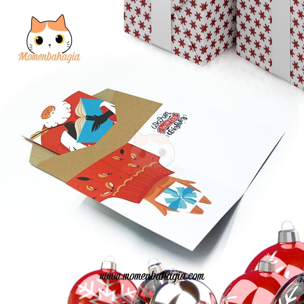 Kartu Ucapan Natal premium karakter santa